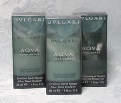 3 Pc--Bvlgari AQVA Pour Homme (1oz Each) After Shave Emulsion (NIB) - $16.89