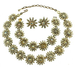 VINTAGE KRAMER WHITE WASHED ENAMEL DAISY AB RS NECKLACE BRACELET EARRING... - $176.39