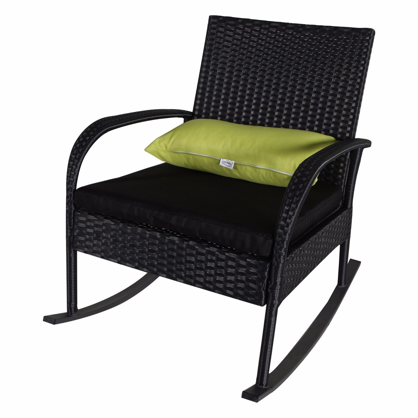 Outdoor 3 PC Rocking Chair Set Wicker Bistro, Black Cushion with Black Rattan
