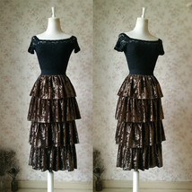 Vintage Velvet Tiered Long Party Skirt Ball Skirt Elastic Waist One Size - $45.99