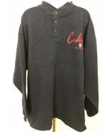 Mens XL Henley fleece lined navy ST LOUIS CARDINALS BASEBALL long sleeve... - $29.69