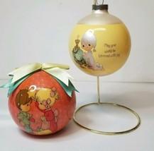 "Vintage 1996 & 1980 Precious Moments Enesco Glass 3"" Christmas Ornaments - £14.05 GBP"
