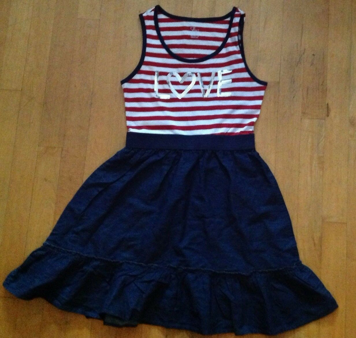 Primary image for Children's Place Girls  Red & White Striped Denim Dress Size XL / 14