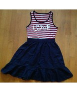Children's Place Girls  Red & White Striped Denim Dress Size XL / 14 - $13.85