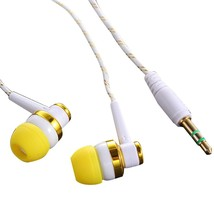 MP3 MP4 Wired Subwoofer Headset Ear Braided Rope Cloth Rope Earplug Nois... - $14.37