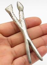 MEXICO 925 Silver - Vintage 2-Chopstick Designed Brooch Pin - BP2031 - $47.06