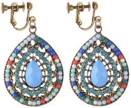 Clip On Earrings Vintage Multicolor Waterdrop Earrings Dangle Rhinestone... - $38.11