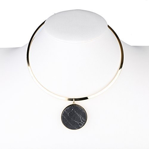 Primary image for UE- Chic Gold Tone Designer Choker Necklace with Smoky Grey Faux Marble Pendant
