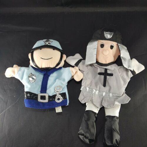 "2 Hand Puppets Lillian Vernon 12"" Priest Cloth & Manhattan Toy Police Officer 8"" - $11.57"