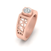 Solid 10k Rose Gold Mesh Engagement Band For Mens Solitaire Wedding Ring... - $919.99