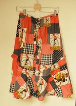 Bicycle print skirt Ruffled midi Skirt Vintage 70's patchwork print skirt - $21.00