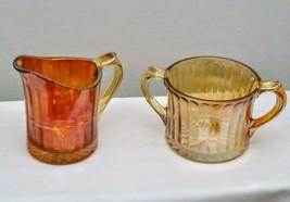 Vintage Imperial Optic Marigold Gold Carnival Glass Sugar & Creamer - $15.95