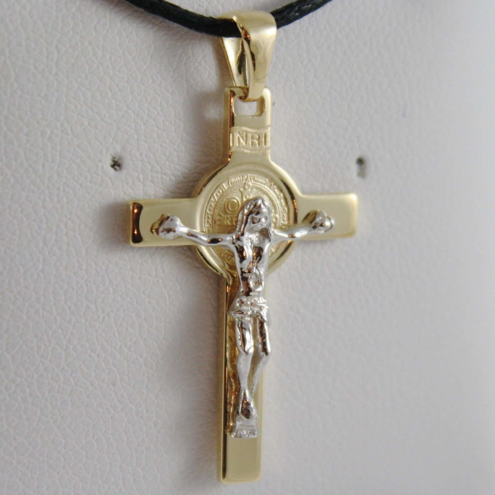18K YELLOW WHITE GOLD CROSS WITH JESUS & ST SAINT BENEDICT MEDAL MADE IN ITALY