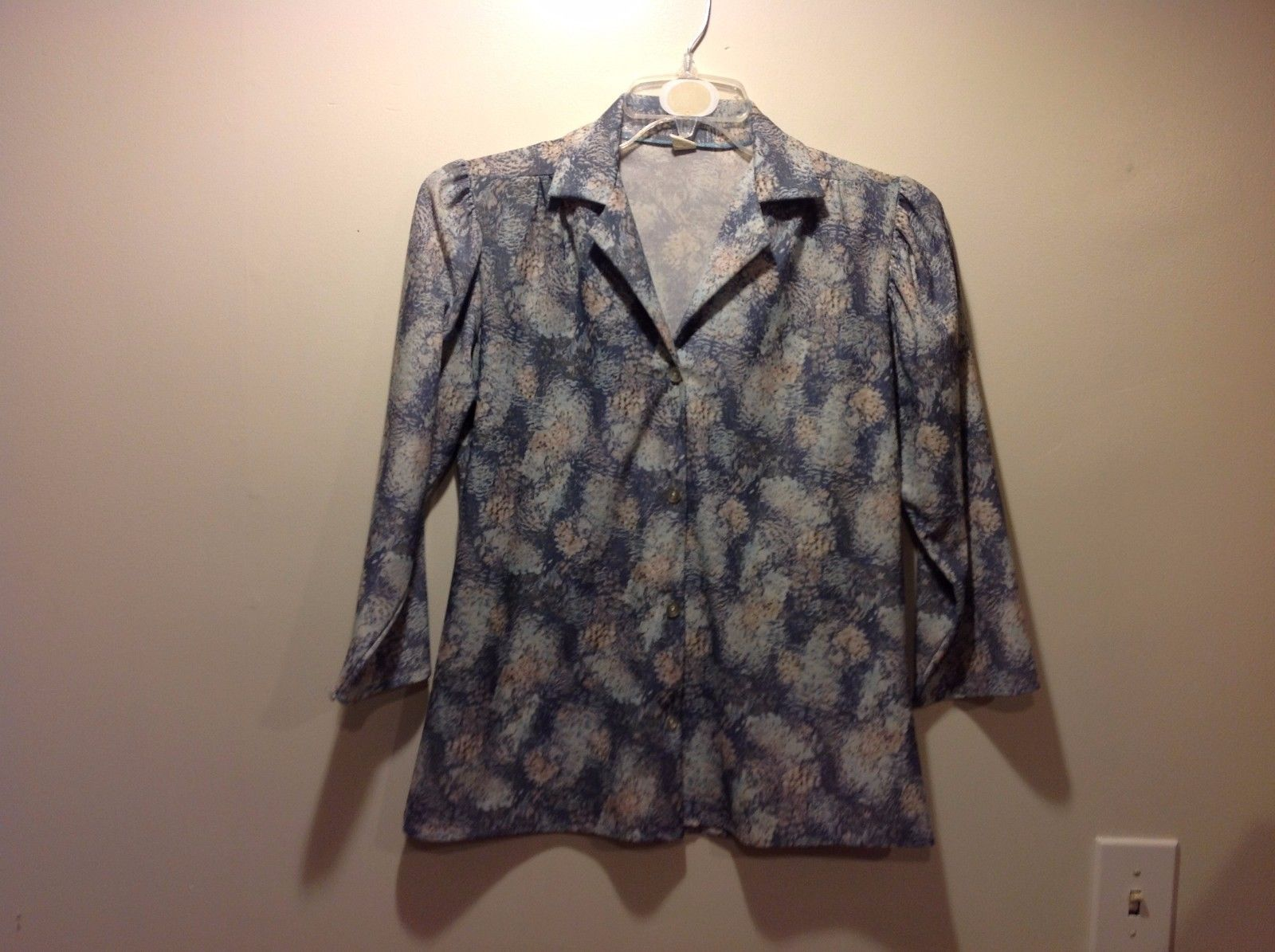 Multicolored Pastel Impressionistic Button Up Blouse Sz Large
