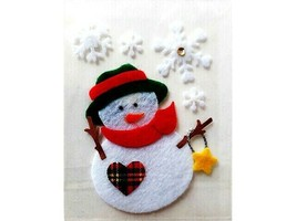 Snowman with Snowflakes, Heart and Star Felt Christmas Sticker Set