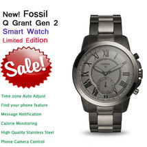 Nouveau Fossil Qgrant Teinte Fumée Acier Inoxydable Homme Hybrid Smart W... - $139.90