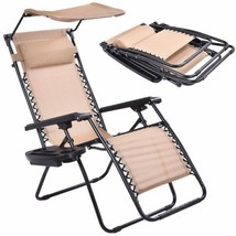Beige Folding Recliner Zero Gravity Lounge Chair With Shade Canopy &Cup ... - $94.81
