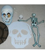 Skeleton Halloween Decoration LOT Lighted Skull Hallmark Candle Holder Mat  - $24.70