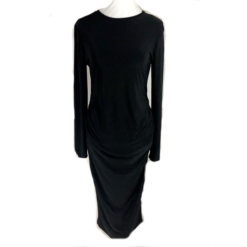ASOS  Black Midi Dress Side Rouching Long Sleeves  Size 4