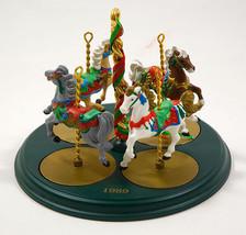 HALLMARK 1989 CHRISTMAS CAROUSEL HORSES & DISPLAY HOLLY GINGER SNOW STAR - $24.39