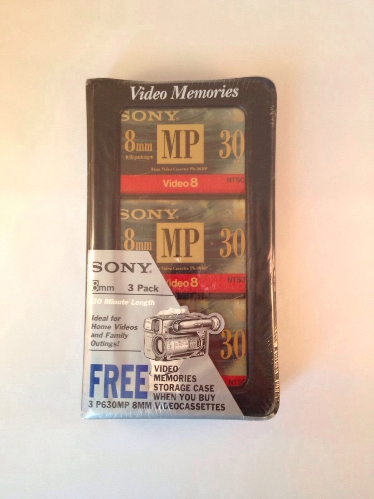 3 SONY P630MP METAL 8MM VIDEO CASSETTES WITH VIDEO MEMORIES CASE