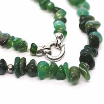 925 Silver Necklace with Agate Green Striated, 50 or 75 cm length image 7