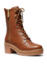 NEW MICHAEL KORS BROWN LEATHER COMBAT BOOTS SIZE 7.5 M $229 - £122.03 GBP