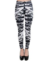 Too Fast Lexy Leggings Ribcage Bones Print Black White Punk Rock - $44.99