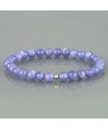 Tanzanite Gemstone Smooth Round 5.5 MM Beads Stretch Bracelet Gift for W... - $37.99