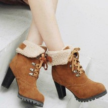Winter Womens Warm Furry Ankle Boots Chunky High Heels Lace up Shoes Plu... - €124,48 EUR