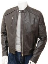 QASTAN Men's New Fashioned Brown Biker Sheep Leather Biker Jacket QMJ37B - $149.00