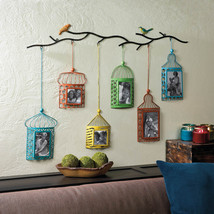 Six Brightly Colored Birdcages Hang From Branch 2 4x4, 2 4x6, 2 5x7 Wall Frames - $114.95