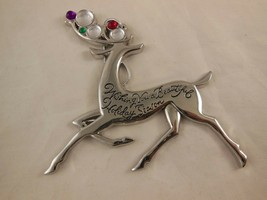 "American Greetings Silver Plated Reindeer  christmas ornament 4"" x 4"" - $8.90"