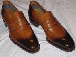 Burnished Toe Brown Color Genuine Leather Moccasin Men Handmade Slip Ons Shoes - $139.90+