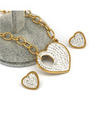 heart  red bule white zircon Gold color stainless steel Jewelry Sets For... - $19.98