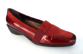 SESTO MEUCCI Size 10 C or Wide Red Patent & Suede Loafers Shoes - $59.00