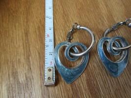 Vintage Blue Sparkly heart 1990's Scroll earrings - $14.50