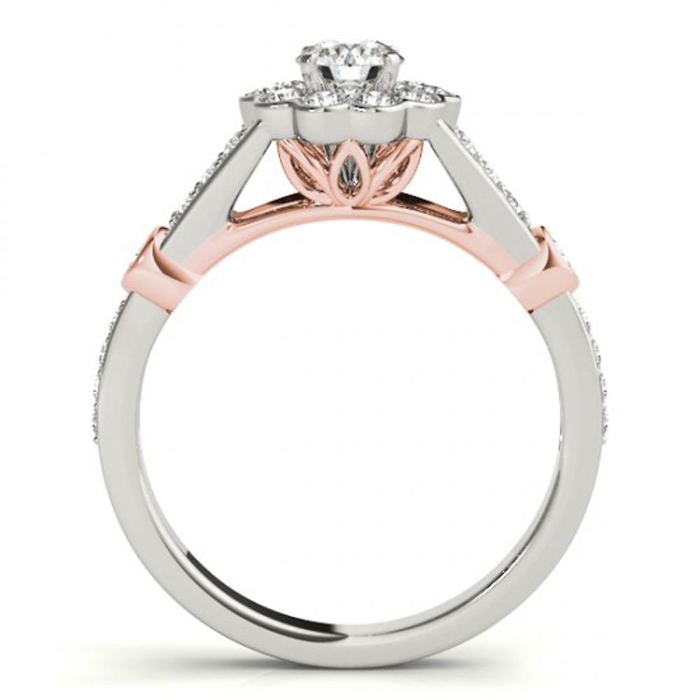 14k White Gold Plated 925 Silver Flower Shape Bridal Wedding Ring Round Cut CZ