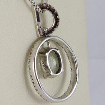 NECKLACE WHITE GOLD 750 - 18K, PENDANT AQUAMARINE AND FRAME OVAL DIAMONDS image 3