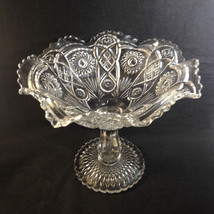 Imperial Glass Vintage FASHION Clear Large Compote Scallop Diamond Point... - $29.95