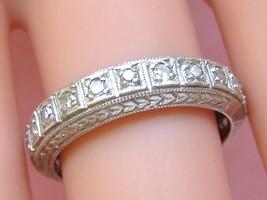 ANTIQUE ART DECO .66ctw DIAMOND PLATINUM WIDE ETERNITY BAND RING 1930 si... - $1,434.51