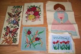 Lot 5 finished needlepoint Doll lady ladybugs rose butterflies Tulip wel... - $23.19