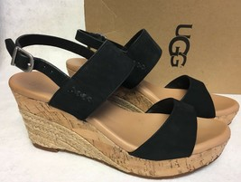 UGG Australia Womens Elena Wedge Platform Sandal Black 1015098 Cork Jute Shoes - $59.99