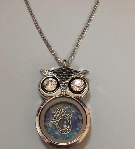 Owl Necklace Floating Hamsa & Swarovski Crystals Charm Pendant Fatima Gift image 4