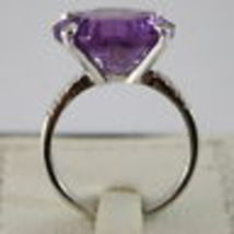 18K WHITE GOLD RING DIAMONDS ct0.21 AMETHYST ct11.50 AMAZING CUT, MADE IN ITALY image 4