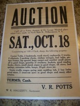 c1910 ANTIQUE WILLIAMSTOWN NY N MAIN STREET AUCTION POSTER BROADSIDE VR ... - $26.72
