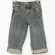 OshKosh Cuff Jeans 3T Black Gray Spell Out 100% Cotton Toddler Denim - $11.77
