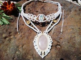Macrame bohemian necklace, White necklace, Statement necklace with Rose Quartz a - $155.00