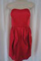 Jessica Simpson Dress Sz 4 Barberry Red Strapless Ruffle Evening Cocktai... - $64.90