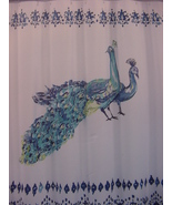 Tahari Peacock Panel Turquoise Navy Lime on White Shower Curtain - $38.00